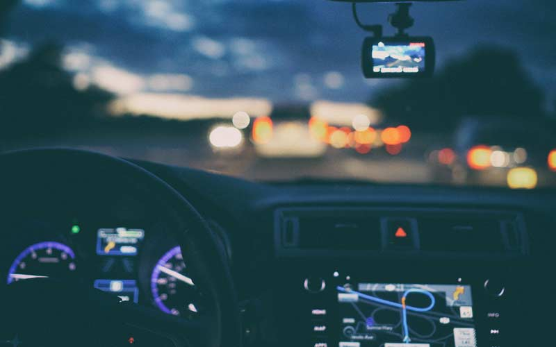 A car driven at night - telematics